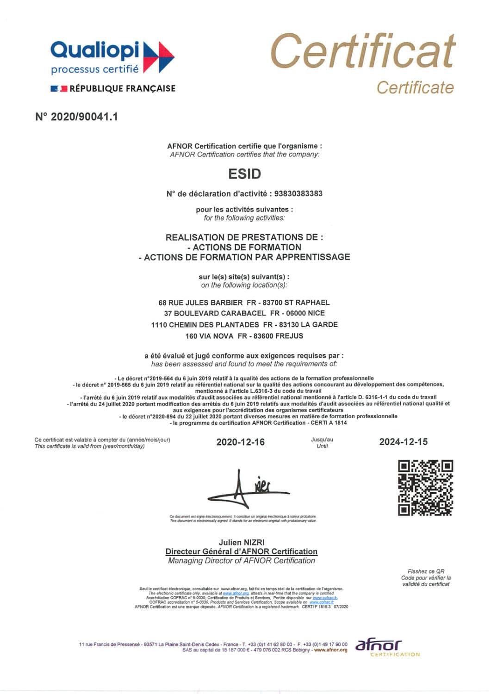 Certification Qualiopi ESiD