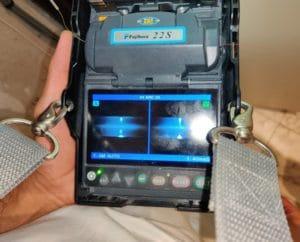 Jonction des brins optiques du NRO ESiD Nice